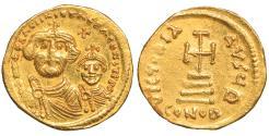 Ancient Coins - Heraclius with Heraclius Constantine Gold Solidus Constantinople AD 616-625 aUNC