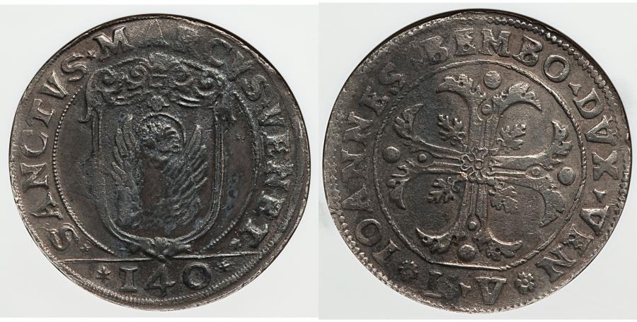 World Coins - Venice Giovanni Bembo 1615-1617 Scudo da 140 Soldi NGC AU Details