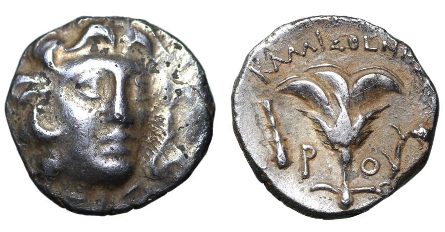 Ancient Coins - CARIA Rhodes Drachm 304-166 BC Kallisthenes, magistrate VF/XF