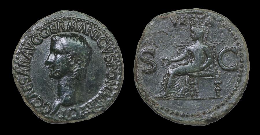 Ancient Coins - Gaius (Caligula). AD 37-41. Æ As Rome mint aEF. Dark patina rare