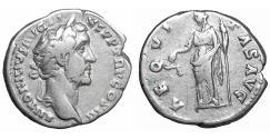 Ancient Coins - Antoninus Pius Denarius Rome AD 140-143 Aequitas XF