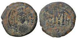 Ancient Coins - Maurice Tiberius 582-602 Æ Follis VF brown patina.