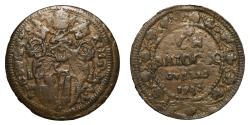 World Coins - Papal States Benedict XIII 1724-1730. Baiocco Gubbio 1730 R2 VF\XF