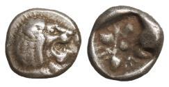 Ancient Coins - Ionia Miletos 510-494 BC Silver Diobol XF+ \ Greek Coins