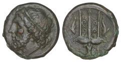Ancient Coins - Sicily Syracuse Hieron II 275-215 BC Bronze XF Poseidon