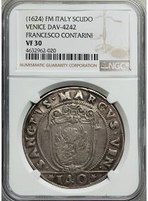 World Coins - Venice Francesco Contarini Scudo 1623-1624 Rare NGC VF30