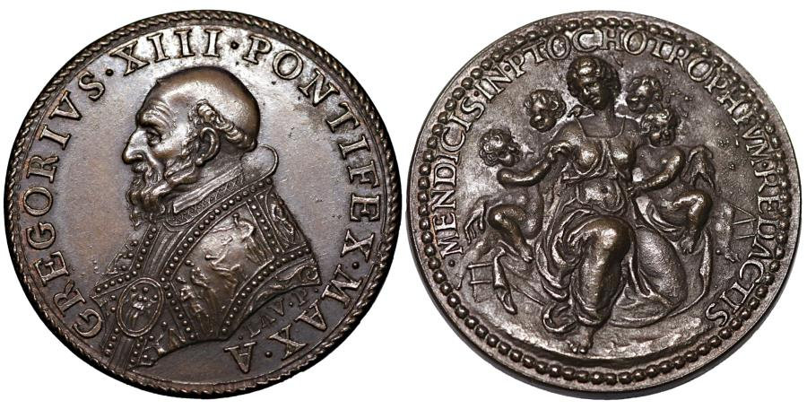 World Coins - Papal States Pope Gregory XIII 1572-1585 Medal Rare Mint State collection patina