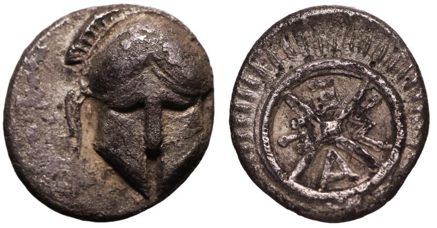 Ancient Coins - THRACE, Mesembria IV-III Century BC AR Diobol Corinthian helmet \ Spiked whee VF/XF