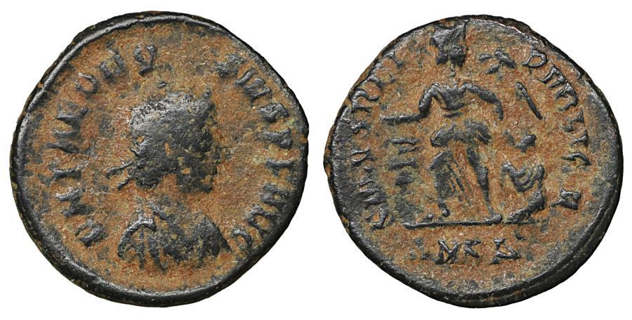 Ancient Coins - Theodosius I AD 379-395 AE half-centenionalis VF\XF \ Roman Coins