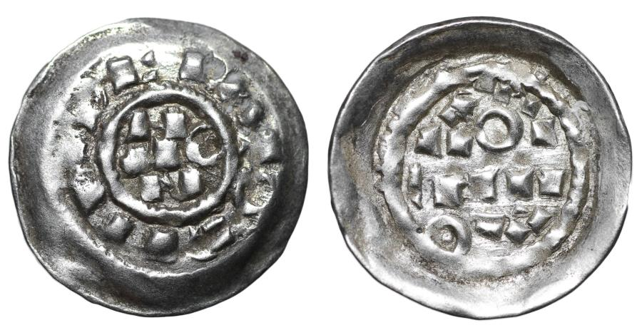 World Coins - Medieval Italy Henry II of Saxony 1014-1024 AD Schyphate Denar aUNC Rare