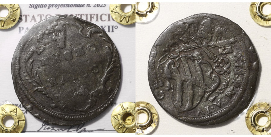 World Coins - PAPAL STATES CLEMENS XII 1730-1750AD 1/2 BAIOCCO GUBBIO RARE