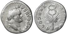 Ancient Coins - Vespasian AD 69-79. Rome. Denarius. \ Caduceus \ aXF
