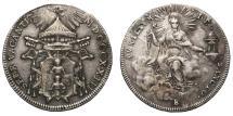 World Coins - Papal States Sede Vacante 1/2 Scudo 1823 Rare VF+