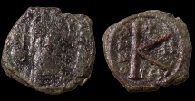 Ancient Coins - Maurice Tiberius. 582-602 AD. AE Half Follis. Thessalonica Mint. Struck in 583/584 AD.