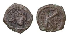 Ancient Coins - Justinian I AE Half Follis 527-565 AD Theupolis mint. VF+, brown patina. Good struck