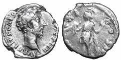 Ancient Coins - Marcus Aurelius as Caesar Rome 157 AD Denarius Virtus VF