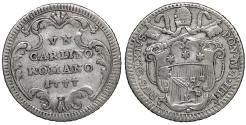 World Coins - Papal States Rome Pius VI 1775-1799 Carlino 1777 UNC