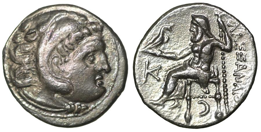 Ancient Coins - Macedon Alexander III the Great Silver Drachm  Iridescent toning. UNC