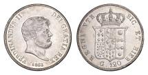 World Coins - SICILY FERDINANDO II BORBONE 120 G. 1853 SILVER CROWN
