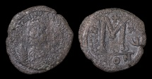Ancient Coins - Justinian I. AE Follis. 527-565 AD, Constantinople mint. Struck in 541/542 AD
