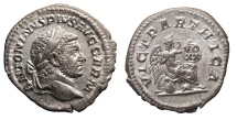 Ancient Coins - Caracalla, AR Denarius, 213-217 AD, VICT PARTHICA Near MS Toned