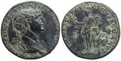 Ancient Coins - Trajan 98-117 AD Æ Sestertius. Felicitas \ XF