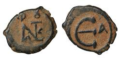 Ancient Coins - Justin II 565-578 AD AE Pentanummium Constantinople XF \ Byzantine Coins