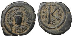 Ancient Coins - Maurice Tiberius 582-602 AD AE Half Follis Antioch as Theopolis VF+