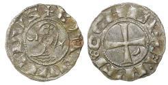 World Coins - CRUSADERS, Antioch. Bohémond III. 1163-1201. AR Denier Old Cabinet toning. XF. Rare