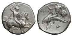 Ancient Coins - CALABRIA Tarentum Circa 302-290 BC Didrachm or nomos XF+