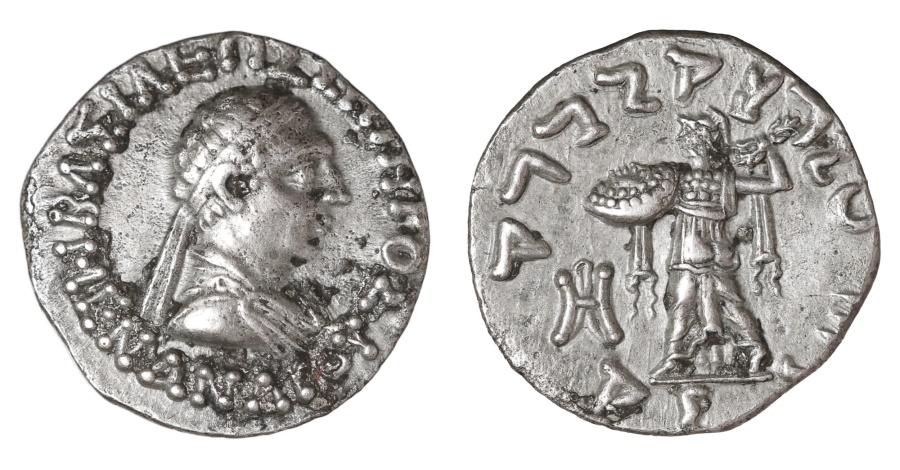 Ancient Coins - Bactria. Menander I Soter. Circa 155-130 BC. Silver Drachm