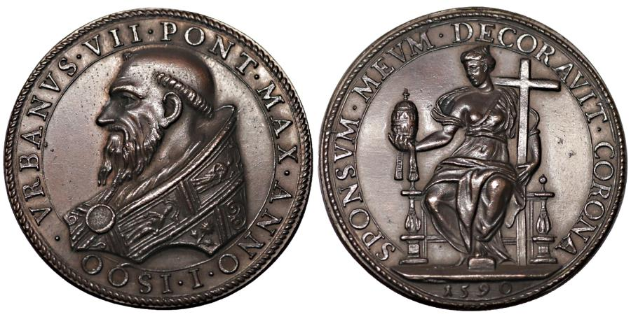 World Coins - Papal States. Urbano VII. 1590. Medal 1590. Bronze Rare. MS. Patina Collection