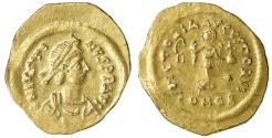 Ancient Coins - JUSTIN II (565-578) GOLD Tremissis Constantinople XF+