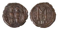 Ancient Coins - Justin II AD 565-572 Follis struck AD 568/569 Mint of Nicomedia  Very fine  brown patina
