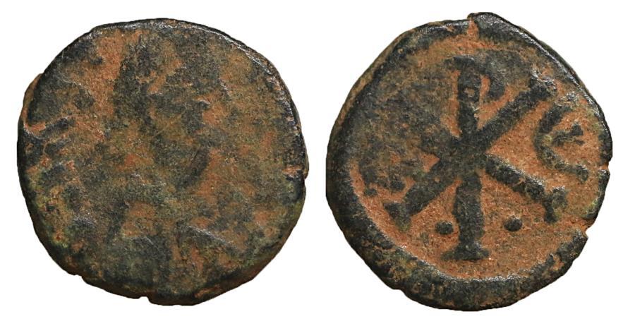 Ancient Coins - Justin I 518-527 Æ pentanummium Constantinople VF+ \ Byzantine coins