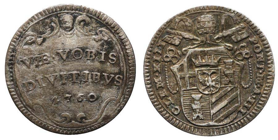 World Coins - Papal States Clement XIII 1758-1769 dC 1/2 Grosso 1760 Rare aXF