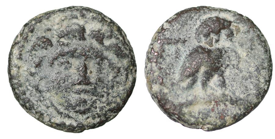 Ancient Coins - Arcadian League. Tegea. 420-390 B.C. Bronze. Very Rare. VF+
