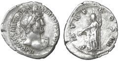Ancient Coins - Hadrian AR denarius, AD 119-122, Rome aXF