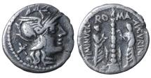 Ti. Minucius C.f. Augurinus. Denarius. 134 BC VF+