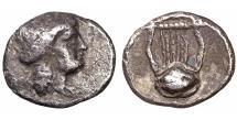 Ancient Coins - Macedonia. Akanthos,. Circa 470-390 BC. AR Obol \ XF