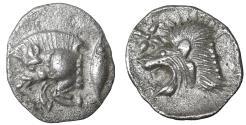 Ancient Coins - Kyzikos, Mysia. 500-490 AD. AR Hemiobol. Lion's head left, above, star; all within square incuse. SNG BN Paris 375. SNG Tübingen 2217. Klein, KM 41, 265. XF+