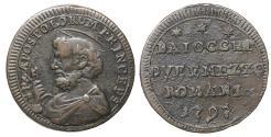 World Coins - Papal States Pius VI 1775-1799 Sampietrino 1797 XF