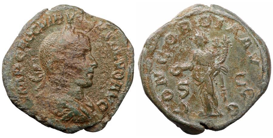 Ancient Coins - Volusianus. AD 251-253. Rome. Sestertius. \ CONCORDIA VF+ \ roman coin