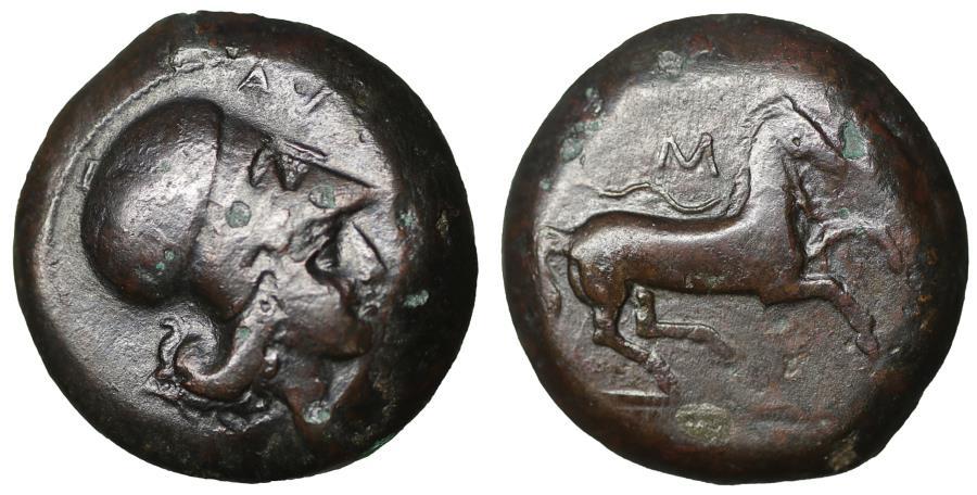 Ancient Coins - Sicily Aitna 354-344 BC Bronze Rare aXF Athena \ Horse Greek Coin