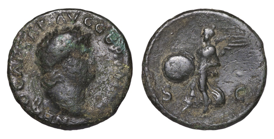 Ancient Coins - Nero 54-68 AD AE As Victory Flying