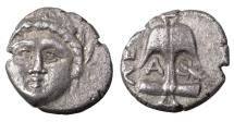 Ancient Coins - Thrace Apollonia Pontika 4th cent BC Silver Diobol VF/XF