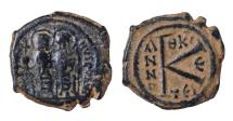 JUSTIN II AE HALF FOLLIS. 20 NUMMI. Mint of Thessalonica. 569 AD EF. SCARCE