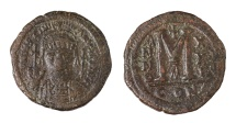 Justinian I. AE Follis. Constantinople mint. Struck in 546/547 AD aEF, brown patina. Good struck