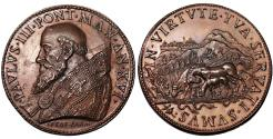 World Coins - Papal States Paul III 1534-1549 Medal 1549 Year VI Rare Mint State dark red patina