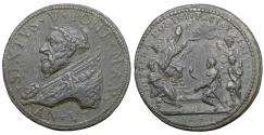 World Coins - Papal States Sixtus V 1585-1590 AE Medal 1591 R2 XF With box